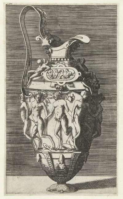 Kan met een oor; Vazen en kannen, gedecoreerd met figuratieve voorstellingen, grotesken, mascarons en guirlandes