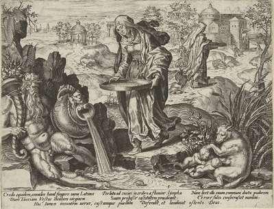 Tuccia met een zeef aan de waterkant; Voorstellingen uit de Romeinse geschiedenis