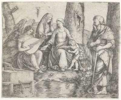 Maria met kind, Anna, Paulus en engel spelend op luit bij bron