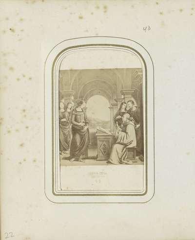 Fotoreproductie van een lithografie naar een schilderij van Pietro Perugino