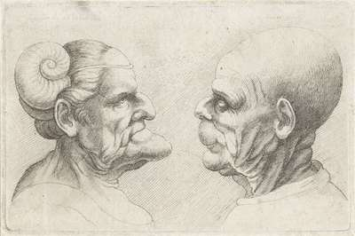 Misvormde koppen van een kale man en vrouw met hoornen op het hoofd; Varie figurae et probae; Karikaturen, koppen en misvormingen naar Leonardo da Vinci