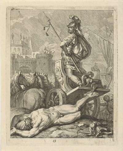 Achilles met lijk van Hector achter zijn zegewagen; Scènes uit het leven van Achilles; Vitam et mortem achilli