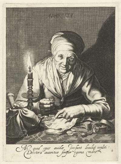 Oude vrouw als personificatie van Gierigheid telt geld; Avaritia