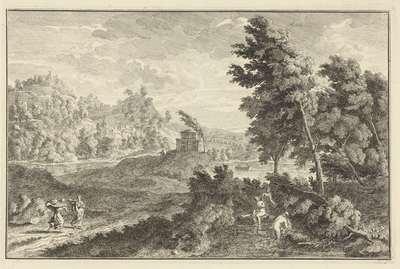 Landschap met tombe en drie badende vrouwen; Italiaanse en Duitse landschappen