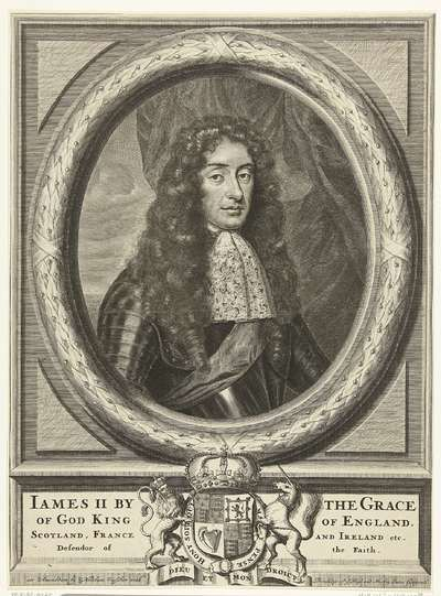 Portret van James Stuart, koning van Engeland, in ovale omlijsting; James II by (...) Defendor of the Faith