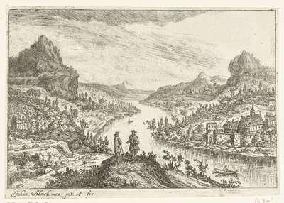 Rivierlandschap met twee mannen op een heuvel; Vier rivierlandschappen