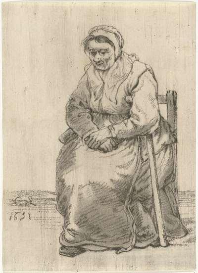 Oude vrouw met kruk op stoel gezeten