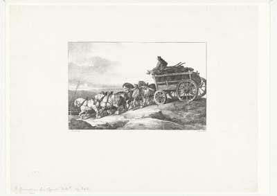 De kolenwagen; Le chariot de charbon; Verschillende studies van paarden; Etudes de chevaux