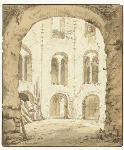 Gezicht op de kapel van het Valkhof te Nijmegen