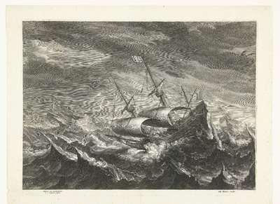 Schepen op zee met hoge golven