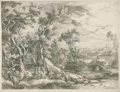 Landschap met Abraham die de drie engelen smeekt Sodom te sparen; Royaalbijbel