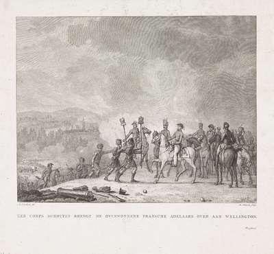 Schotten presenteren veroverde Franse standaarden aan Wellington,1815; Een corps Schotten brengt de overwonne Fransche adelaars over aan Wellington
