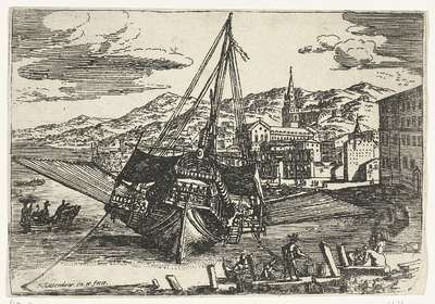 Image from object titled Galei voor anker aan de kade van de haven van Messina; Gezichten van de haven van Messina
