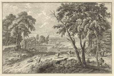 Arcadisch rivierlandschap met jacht op herten; Italiaanse en Duitse landschappen