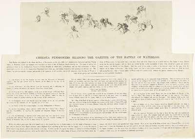 Sleutel voor de prent van de oudstrijders die lezen over de slag bij Waterloo, 1815; Chelsea pensioners reading the Gazette of the Battle of Waterloo