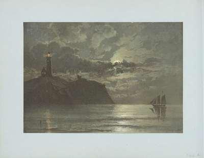 Zeegezicht met vuurtoren naar schilderij van C. Frederick Sörensen