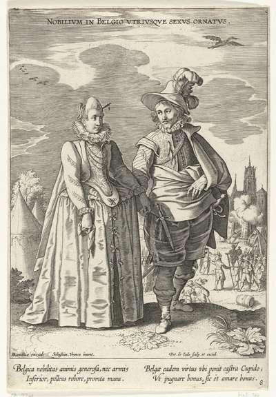 Paar, gekleed volgens de mode uit de Nederlanden, ca. 1610; Nobilivm in Belgio Vtrivsqve Sexvs Ornatvs; Kostuums uit verschillende landen; Variarum Gentium Ornatus