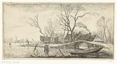 Winterlandschap met een stenen brug