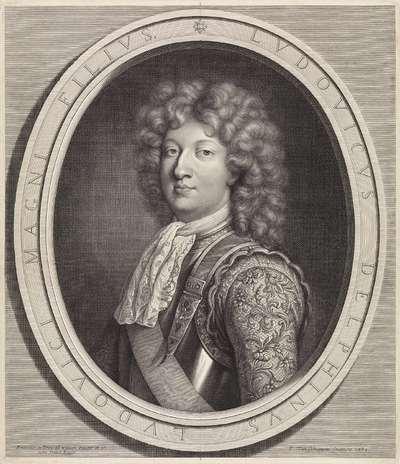 Portret van Lodewijk, Dauphin van Frankrijk, met borstkuras en rijkgeborduurde mouwen met florale motieven