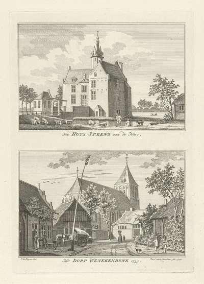 Huis Steens en dorpsgezicht te Winnekendonk, 1739; Het Huys Steens aan de Niers / Het Dorp Wenekendonk 1739; Dorps- en stadsgezichten te Kleef