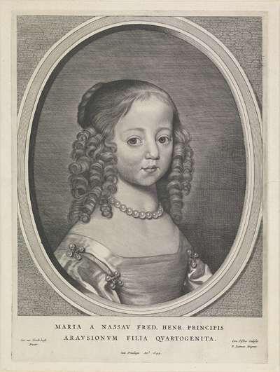 Portret van Maria, prinses van Oranje; Fredericus Henricus Illustrissimus Orangiae Princeps