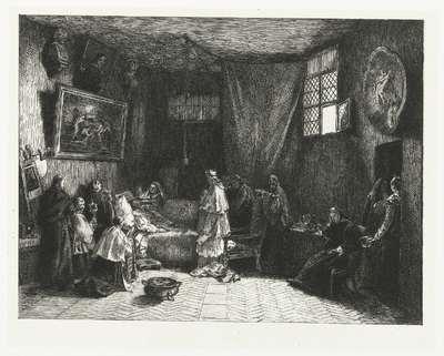 Sterfbed van Poussin in atelier; La Mort du Poussin