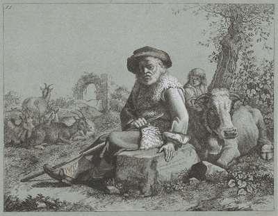Rustende herder met vee; Herders, boeren en vee