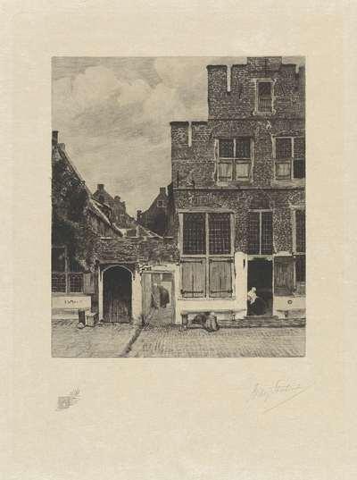 Gezicht op huizen in Delft, bekend als 'Het straatje'