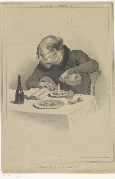 Lezende man; Une lecture entraînante; Karikaturen; Caricaturana