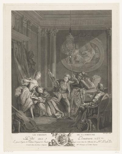 Een violist en twee jonge vrouwen in een interieur, een zittende man kijkt toe; Le Chemin de la Fortune