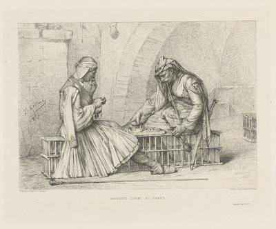 Twee dammende Arnauten tegenover elkaar op een bank; Arnautes jouant aux dames