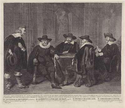 De vier Amsterdamse burgemeesters wachtend op het bericht van de aankomst van Maria de´ Medici, 1638