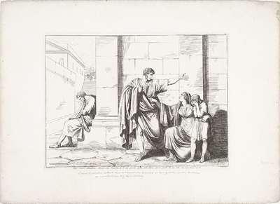 Gaius Gracchus neemt afscheid van Licinia Minor en zoon; Cajo Gracco abbandona Licinia sua Consorte, ed il suo piccolo figlio, nell' ultimo giorno fatale di sua vita; Geschiedenis van het Romeinse Rijk; Frontespizio della...