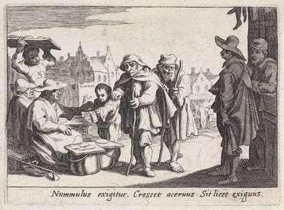 Bedelaars bij een marktkraam; Het betreurenswaardige lot van de blinden en de armen