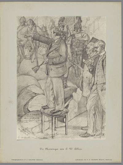 Fotoreproductie van een tekening, voorstellende Ludwig Chronegk leidt de generale repetitie van het toneelstuk Julius Caesar; Die Meininger von C. W. Allers
