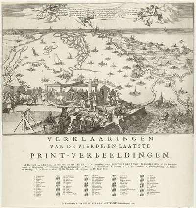 Vierde plaat van de watersnood na dijkdoorbraken bij de grote rivieren, 1740-1741; De Vierde Plaat van der overstroomingen der Landen (...) waar by gevoegd is een nette afbeelding van de Kettingmoolen die gebruikt is; om...