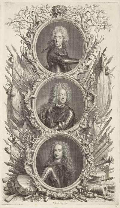 Portretten van Eugenius van Savoye, hertog John Churchill van Marlborough en Johan Willem Friso, prins van Oranje-Nassau