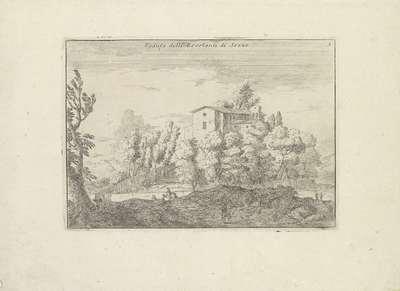 Image from object titled Landschap met een kerk; Varie Vedute; Veduta delli Zocolanti di Sezze