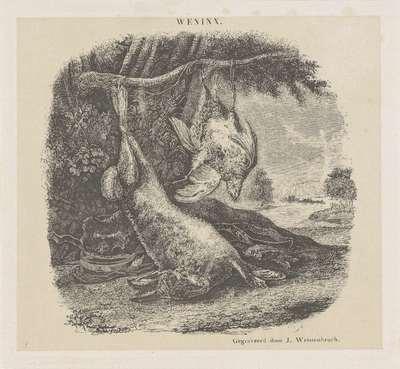 Jachtstilleven met een haas en gevogelte in een landschap