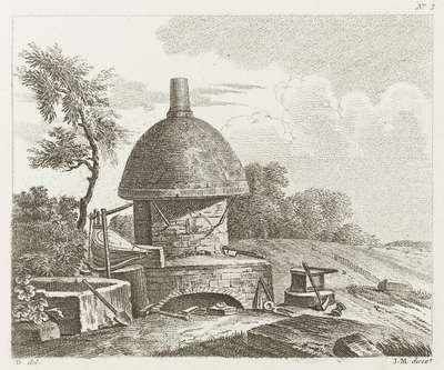 Oven met blaasbalg en aambeeld in de open lucht.; Premier Cahier D'Etudes