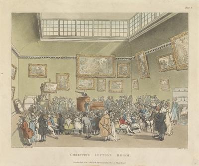 Schilderijenveiling bij Christie's Londen; Christie's Auction Room