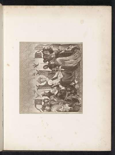Fotoreproductie van een prent naar een schilderij, voorstellende de aanbidding der wijzen