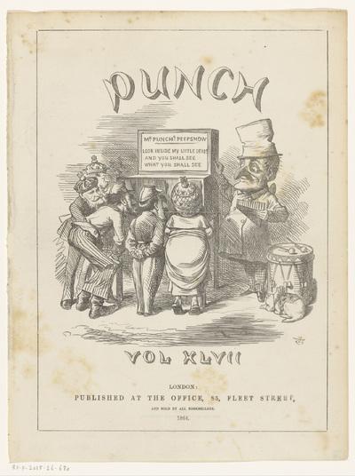 Mr. Punch naast een kijkkast; Titelpagina voor: Punch or the London Charivari, vol. XLVII, 1864