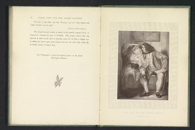Fotoreproductie van een schilderij van oom Toby en weduwe Wadman uit Tristram Shandy door Charles Robert Leslie; Uncle Toby and the widow Wadman