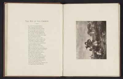 Fotoreproductie van een prent naar een schilderij, voorstellende een kind met een ezelveulen in de armen