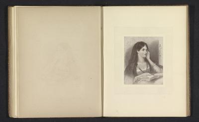 Fotoreproductie van een prent naar een schilderij van een vrouw met een boek door William Boxall