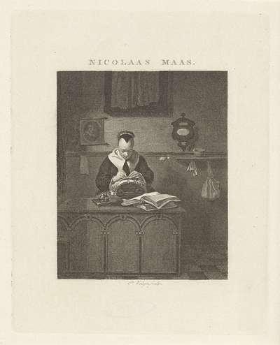 Kantklossende vrouw in een interieur