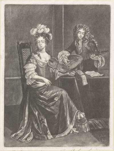 Musicerend paar; Elegante dames en heren in eigentijdse kleding