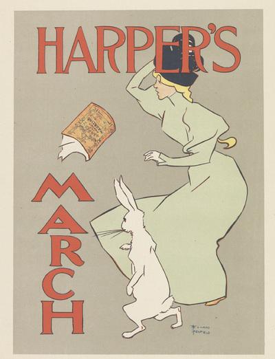 Advertentie voor een maartnummer van Harper's New Monthly Magazine; Les Maîtres de l'Affiche