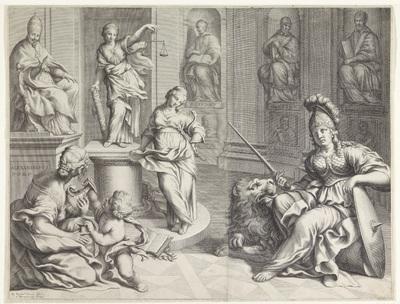 Paus Alexander VII zit op een troon